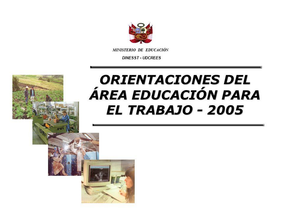 ORIENTACIONES DEL ÁREA EDUCACIÓN PARA EL TRABAJO - 2005 MINISTERIO DE EDUCACIÓN DINESST - UDCREES