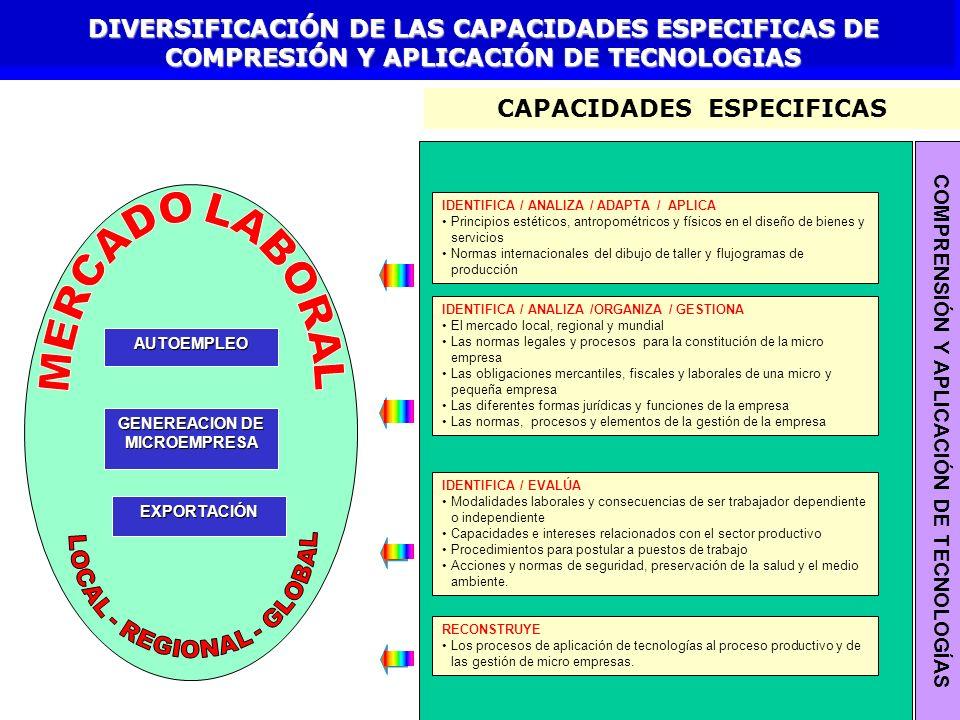 DIVERSIFICACIÓN DE LAS CAPACIDADES ESPECIFICAS DE COMPRESIÓN Y APLICACIÓN DE TECNOLOGIAS CAPACIDADES ESPECIFICAS IDENTIFICA / EVALÚA Modalidades labor