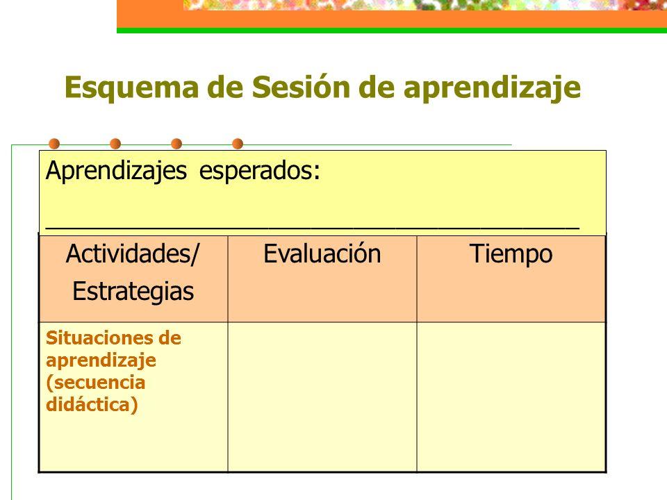 Esquema de Sesión de aprendizaje Actividades/ Estrategias EvaluaciónTiempo Situaciones de aprendizaje (secuencia didáctica) Aprendizajes esperados: __
