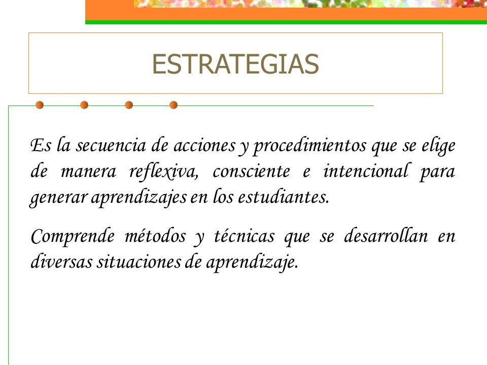 ESTRATEGIAS Es la secuencia de acciones y procedimientos que se elige de manera reflexiva, consciente e intencional para generar aprendizajes en los e