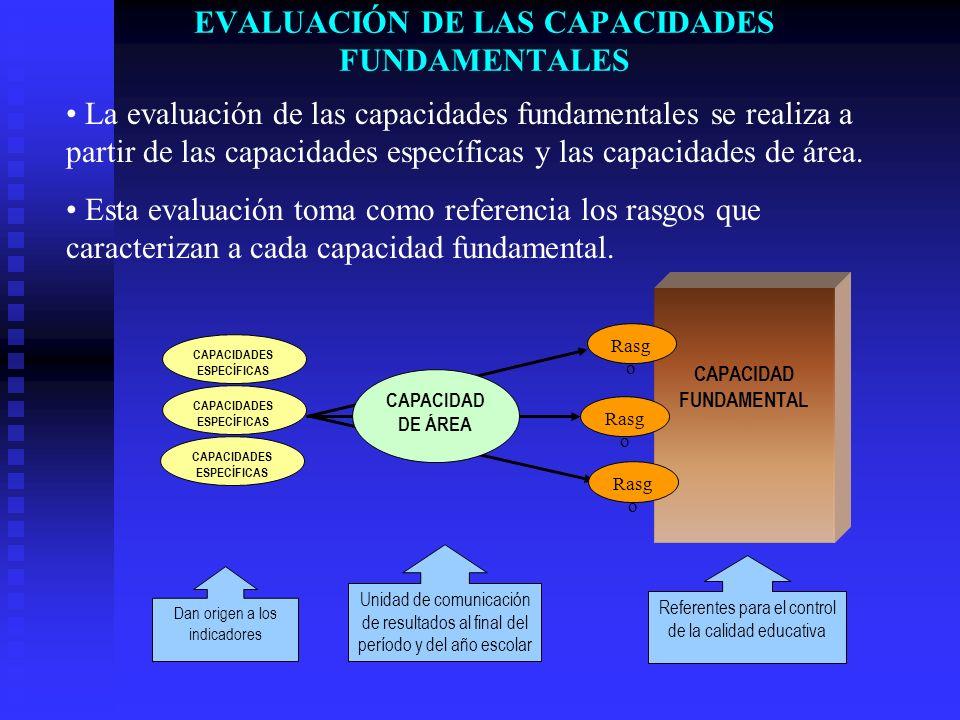 EVALUACIÓN DE LAS CAPACIDADES FUNDAMENTALES La evaluación de las capacidades fundamentales se realiza a partir de las capacidades específicas y las ca