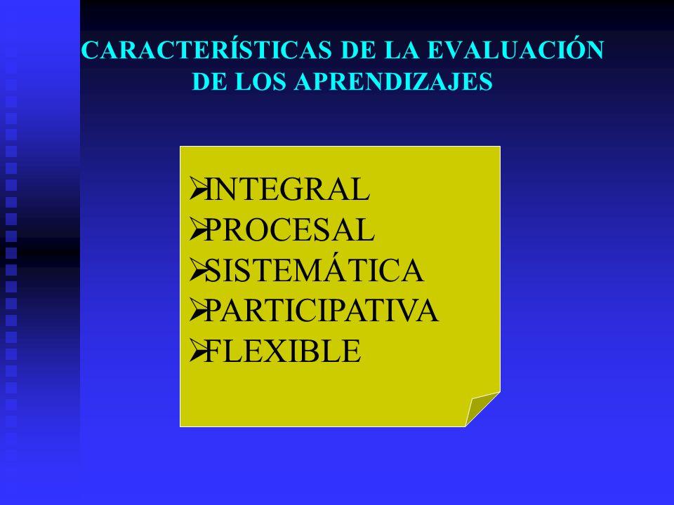 CARACTERÍSTICAS DE LA EVALUACIÓN DE LOS APRENDIZAJES INTEGRAL PROCESAL SISTEMÁTICA PARTICIPATIVA FLEXIBLE