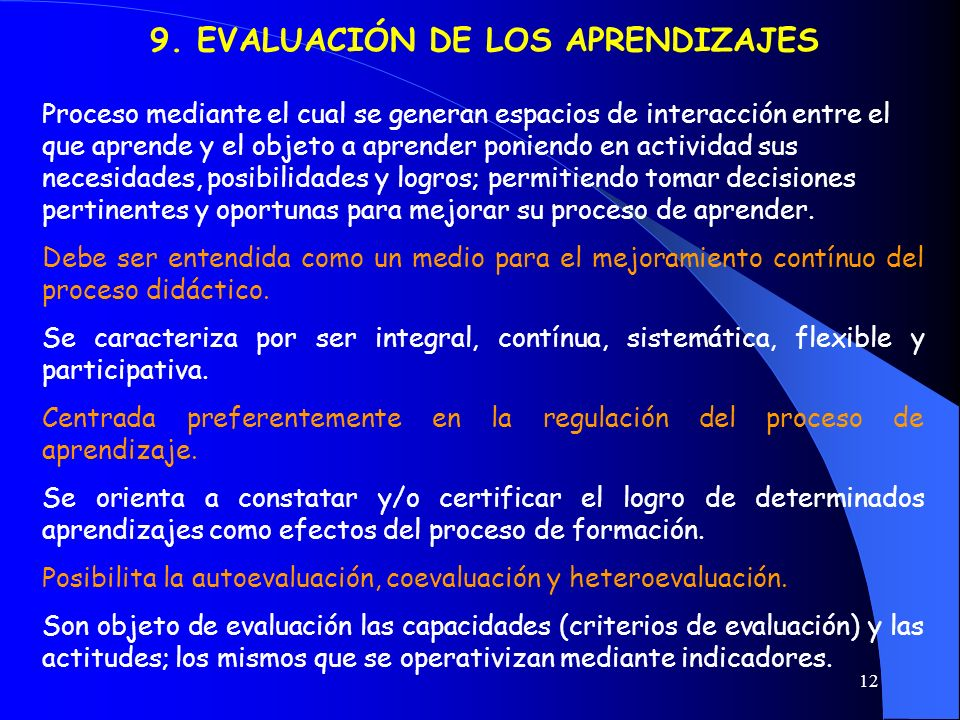 12 9. EVALUACIÓN DE LOS APRENDIZAJES Proceso mediante el cual se generan espacios de interacción entre el que aprende y el objeto a aprender poniendo