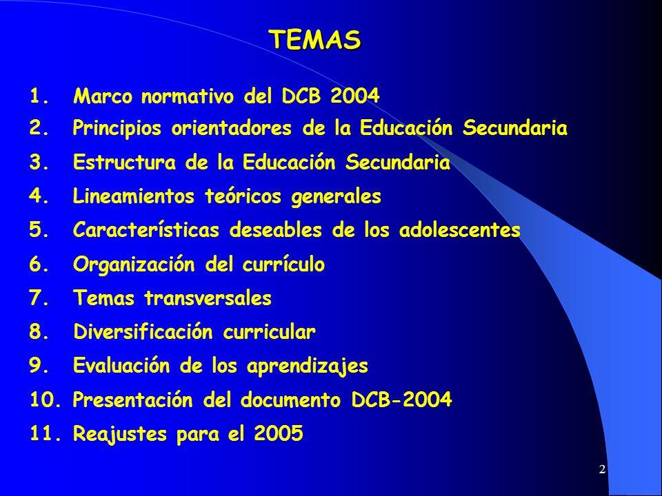 2 TEMAS 1.Marco normativo del DCB 2004 2.Principios orientadores de la Educación Secundaria 3.Estructura de la Educación Secundaria 4.Lineamientos teó