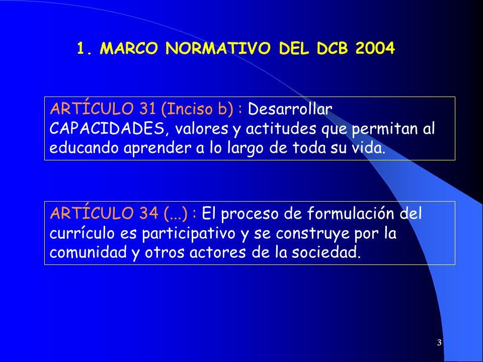 3 1. MARCO NORMATIVO DEL DCB 2004 ARTÍCULO 31 (Inciso b) : Desarrollar CAPACIDADES, valores y actitudes que permitan al educando aprender a lo largo d