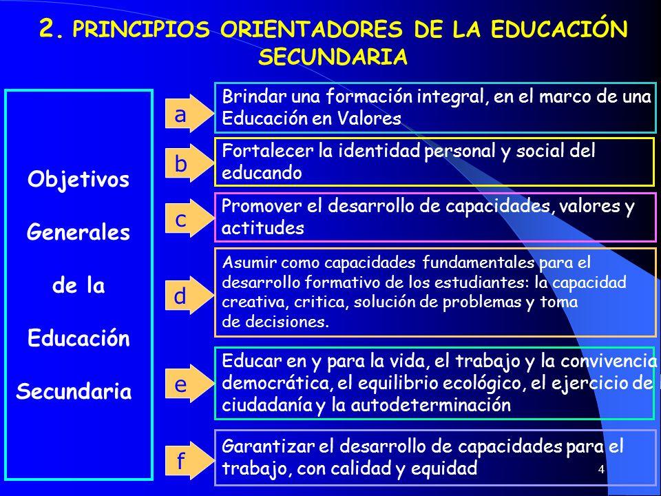 4 2. PRINCIPIOS ORIENTADORES DE LA EDUCACIÓN SECUNDARIA Promover el desarrollo de capacidades, valores y actitudes Brindar una formación integral, en