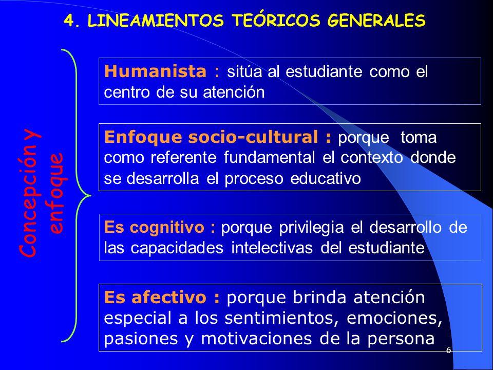 6 4. LINEAMIENTOS TEÓRICOS GENERALES Humanista : sitúa al estudiante como el centro de su atención Concepción y enfoque Enfoque socio-cultural : porqu