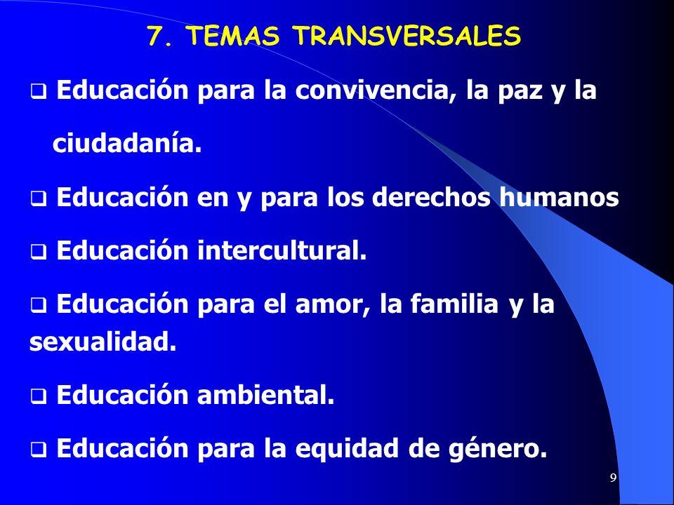 9 Educación para la convivencia, la paz y la ciudadanía. Educación en y para los derechos humanos Educación intercultural. Educación para el amor, la