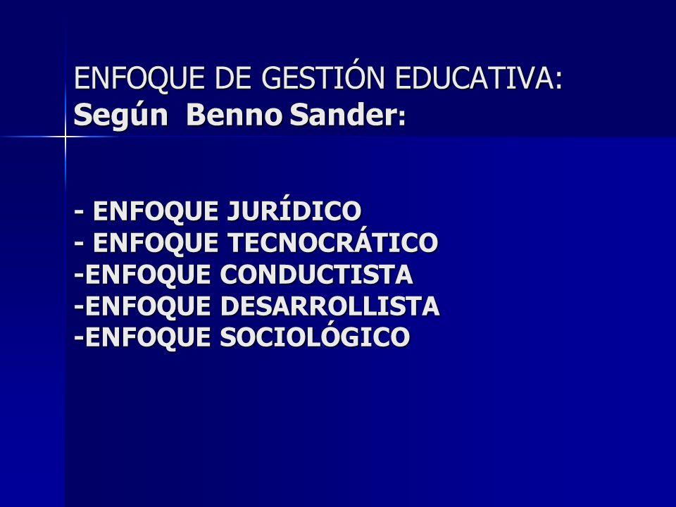ENFOQUE DE GESTIÓN EDUCATIVA: Según Benno Sander : - ENFOQUE JURÍDICO - ENFOQUE TECNOCRÁTICO -ENFOQUE CONDUCTISTA -ENFOQUE DESARROLLISTA -ENFOQUE SOCI