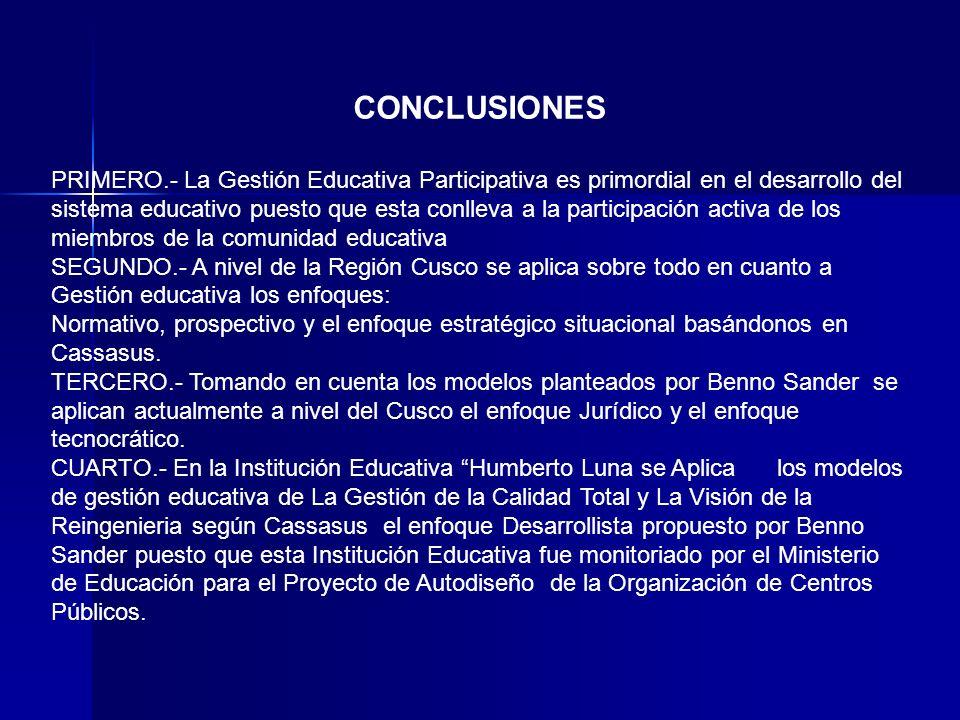 CONCLUSIONES PRIMERO.- La Gestión Educativa Participativa es primordial en el desarrollo del sistema educativo puesto que esta conlleva a la participa