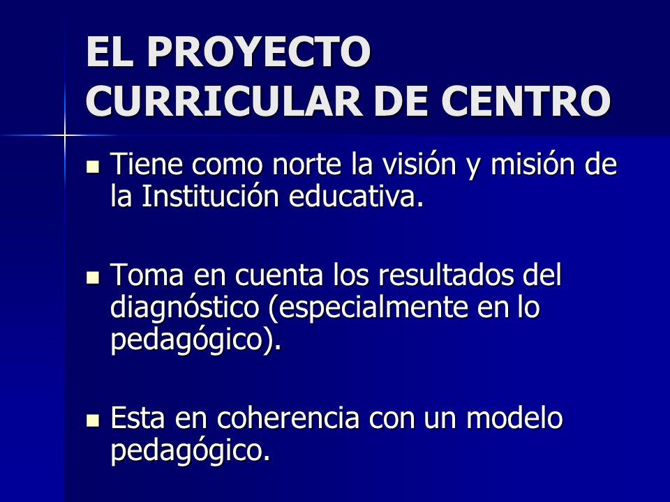 EL PROYECTO CURRICULAR DE CENTRO Tiene como norte la visión y misión de la Institución educativa. Tiene como norte la visión y misión de la Institució