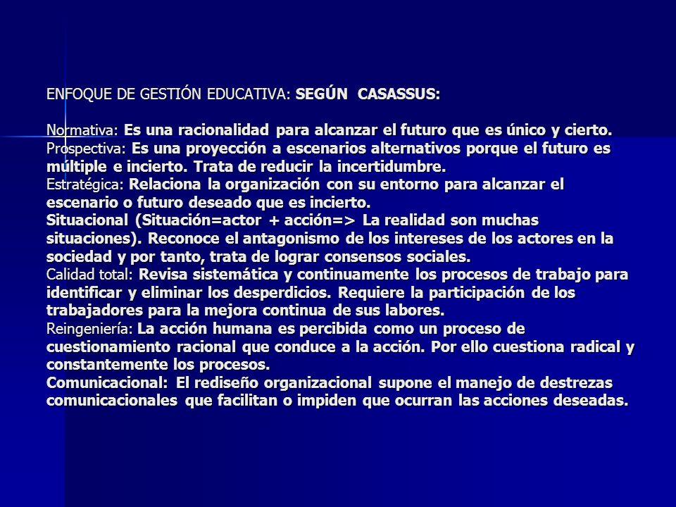 ENFOQUE DE GESTIÓN EDUCATIVA: Según Benno Sander : - ENFOQUE JURÍDICO - ENFOQUE TECNOCRÁTICO -ENFOQUE CONDUCTISTA -ENFOQUE DESARROLLISTA -ENFOQUE SOCIOLÓGICO