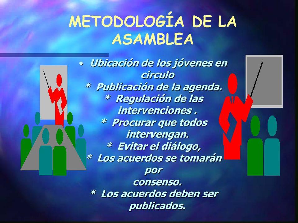 CONDUCCIÓN DE LA ASAMBLEA: Es importante que sea conducida por los mismos alumnos. Los que dirigen la asamblea debe ser elegidos por los mismos alumno