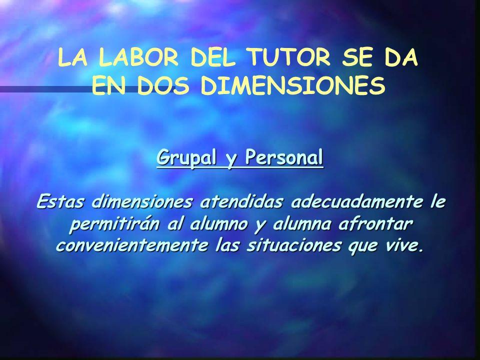 Grupal y Personal Estas dimensiones atendidas adecuadamente le permitirán al alumno y alumna afrontar convenientemente las situaciones que vive.