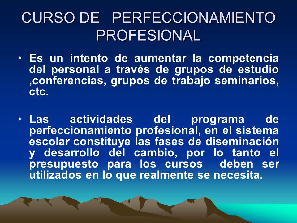 CURSO DE PERFECCIONAMIENTO PROFESIONAL Es un intento de aumentar la competencia del personal a través de grupos de estudio,conferencias, grupos de tra