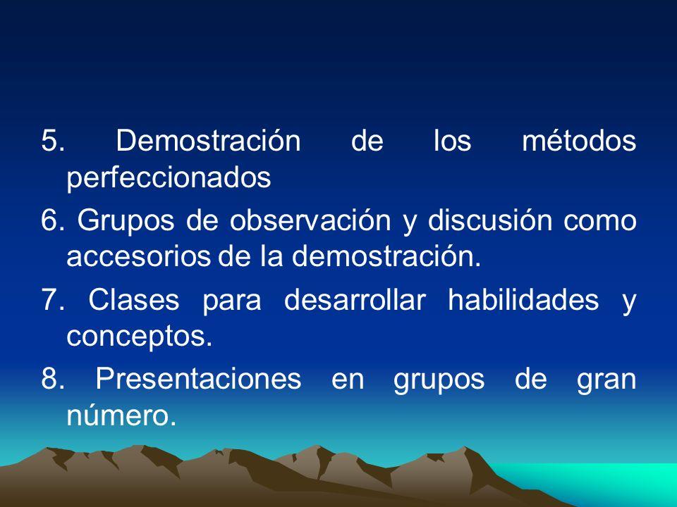 5. Demostración de los métodos perfeccionados 6. Grupos de observación y discusión como accesorios de la demostración. 7. Clases para desarrollar habi
