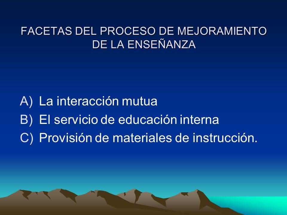 FACETAS DEL PROCESO DE MEJORAMIENTO DE LA ENSEÑANZA A)La interacción mutua B)El servicio de educación interna C)Provisión de materiales de instrucción