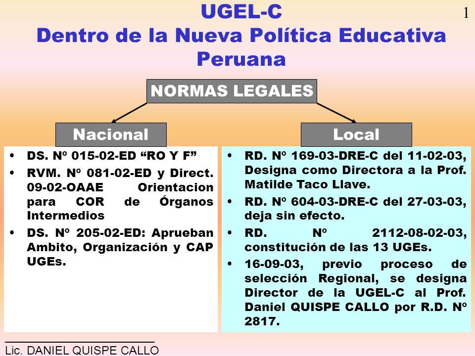 UGEL-C Dentro de la Nueva Política Educativa Peruana DS. Nº 015-02-ED RO Y F RVM. Nº 081-02-ED y Direct. 09-02-OAAE Orientacion para COR de Órganos In