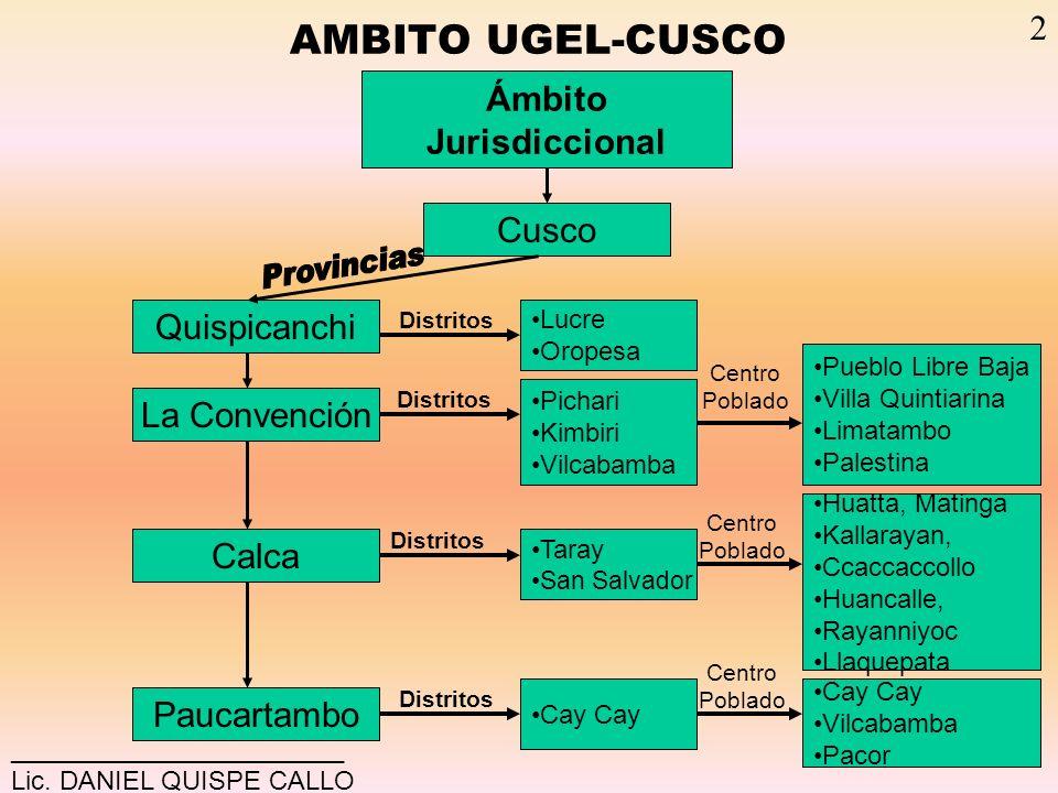 AMBITO UGEL-CUSCO Ámbito Jurisdiccional Cusco La Convención Calca Paucartambo Quispicanchi Lucre Oropesa Pichari Kimbiri Vilcabamba Pueblo Libre Baja