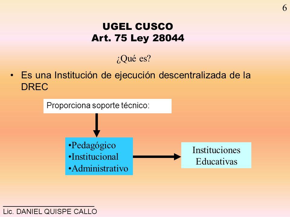 UGEL-C Adecuar Políticas Educativas a su realidad geográfica Fortalecer capacidades de Gestión Pedagógica, Institucional y Administrativa Cohesión social y articulación a de acciones alrededor del PEL Canaliza Aportes: Municipalidades, educación Superior y otros.