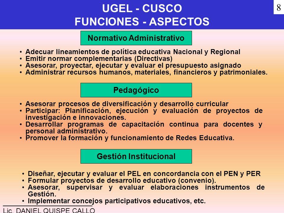 UGEL - CUSCO FUNCIONES - ASPECTOS Normativo Administrativo Adecuar lineamientos de política educativa Nacional y Regional Emitir normar complementaria