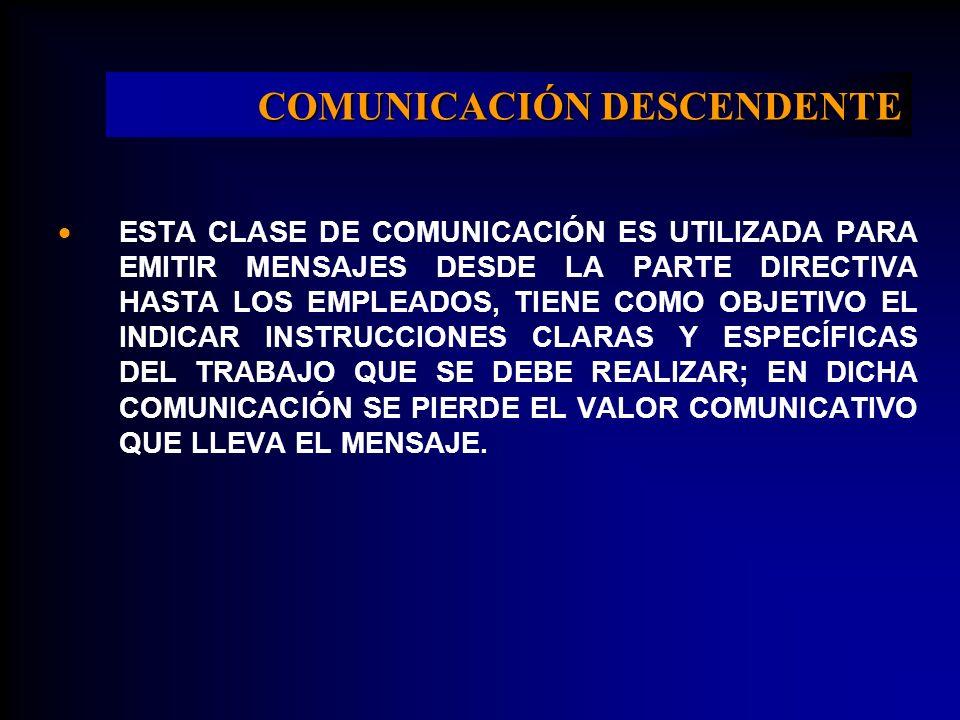 COMUNICACIÓN DESCENDENTE ESTA CLASE DE COMUNICACIÓN ES UTILIZADA PARA EMITIR MENSAJES DESDE LA PARTE DIRECTIVA HASTA LOS EMPLEADOS, TIENE COMO OBJETIV