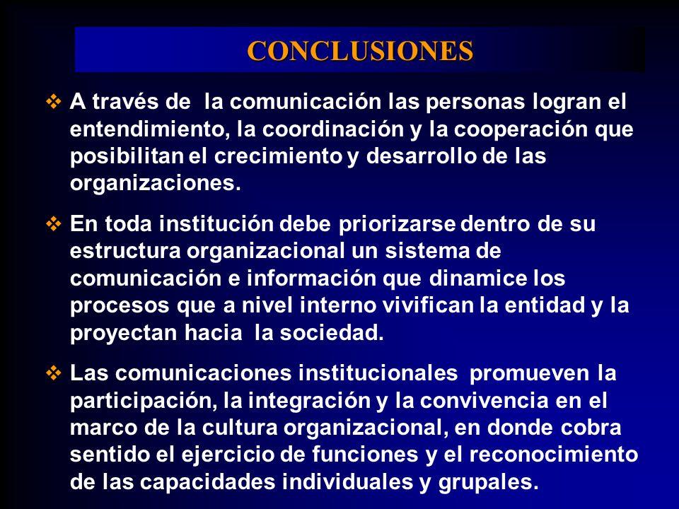 CONCLUSIONES A través de la comunicación las personas logran el entendimiento, la coordinación y la cooperación que posibilitan el crecimiento y desar