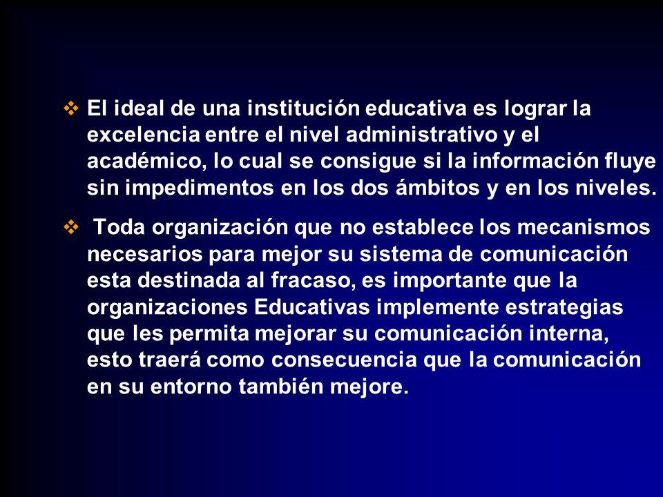 El ideal de una institución educativa es lograr la excelencia entre el nivel administrativo y el académico, lo cual se consigue si la información fluy