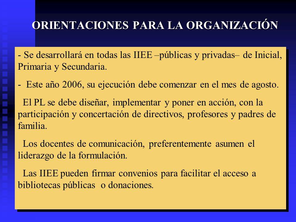ORIENTACIONES PARA LA ORGANIZACIÓN - Se desarrollará en todas las IIEE –públicas y privadas– de Inicial, Primaria y Secundaria. - Este año 2006, su ej