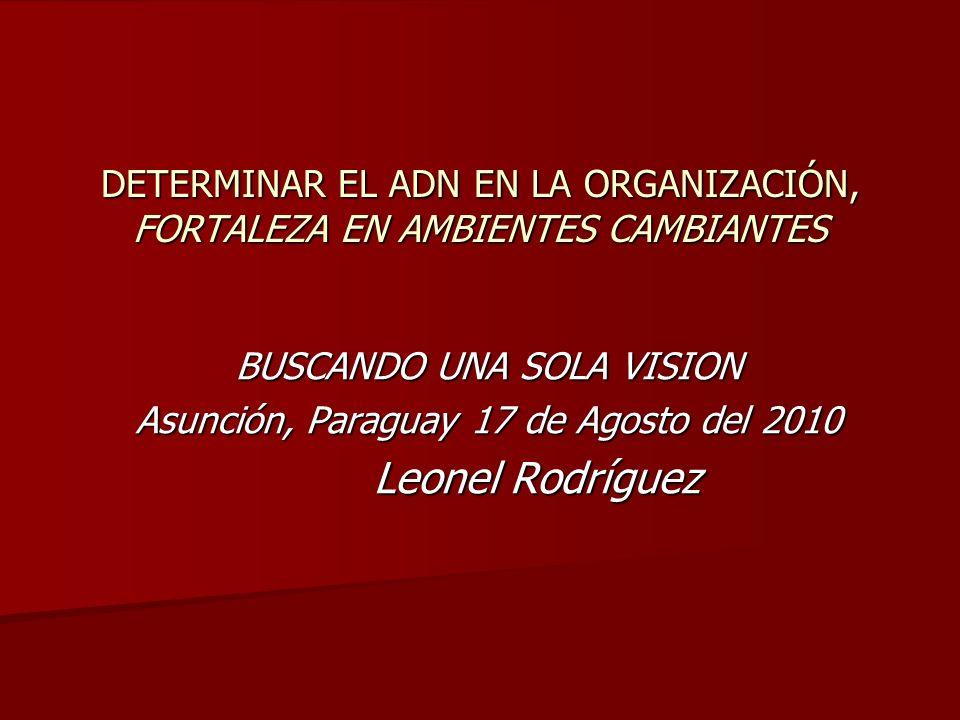 DETERMINAR EL ADN EN LA ORGANIZACIÓN, FORTALEZA EN AMBIENTES CAMBIANTES BUSCANDO UNA SOLA VISION Asunción, Paraguay 17 de Agosto del 2010 Leonel Rodrí
