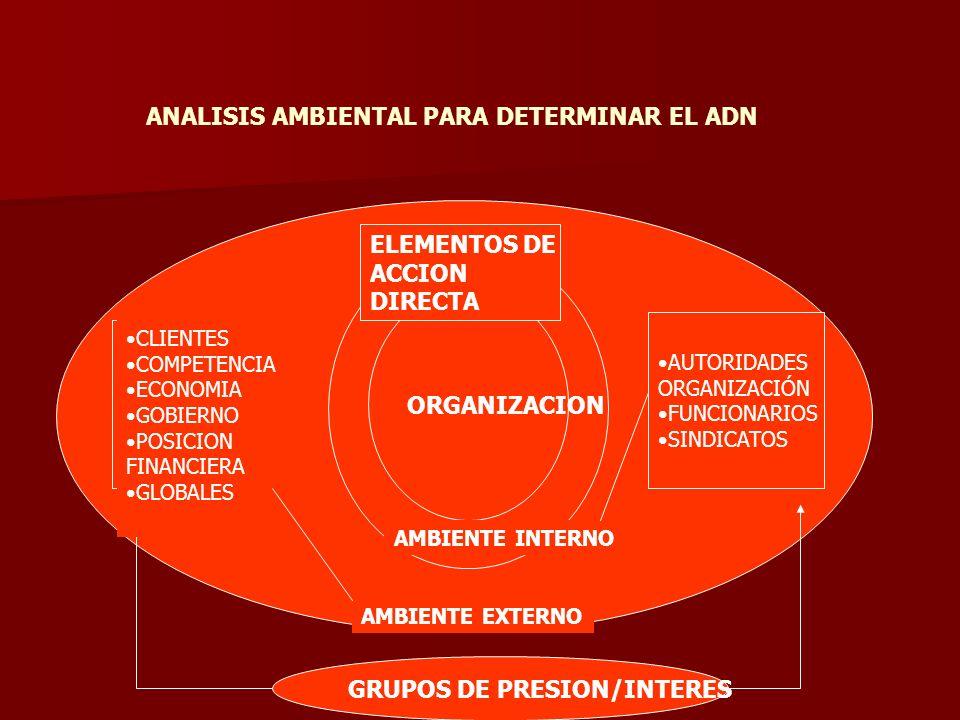 ANALISIS AMBIENTAL PARA DETERMINAR EL ADN GRUPOS DE PRESION/INTERES ORGANIZACION AMBIENTE INTERNO AMBIENTE EXTERNO ELEMENTOS DE ACCION DIRECTA AUTORID