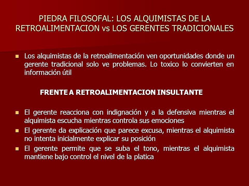 PIEDRA FILOSOFAL: LOS ALQUIMISTAS DE LA RETROALIMENTACION vs LOS GERENTES TRADICIONALES Los alquimistas de la retroalimentación ven oportunidades dond