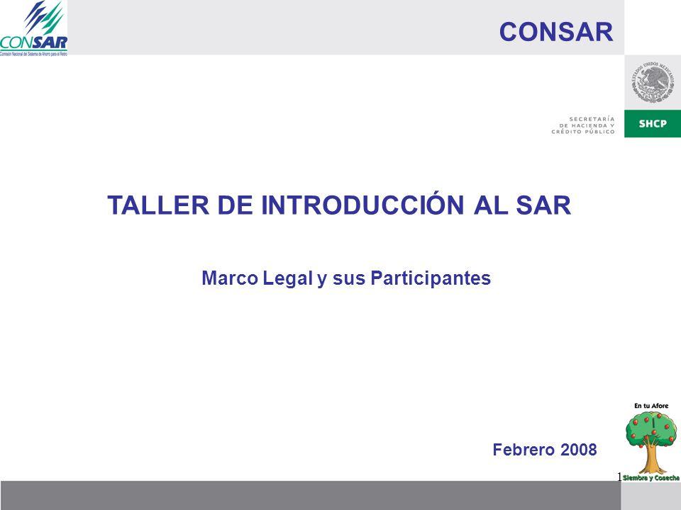 1 CONSAR TALLER DE INTRODUCCIÓN AL SAR Marco Legal y sus Participantes Febrero 2008