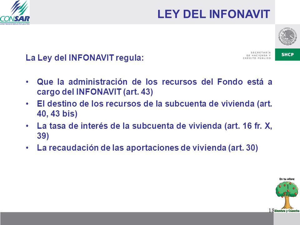 18 LEY DEL INFONAVIT La Ley del INFONAVIT regula: Que la administración de los recursos del Fondo está a cargo del INFONAVIT (art. 43) El destino de l