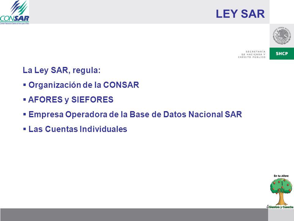 4 LEY SAR La Ley SAR, regula: Organización de la CONSAR AFORES y SIEFORES Empresa Operadora de la Base de Datos Nacional SAR Las Cuentas Individuales