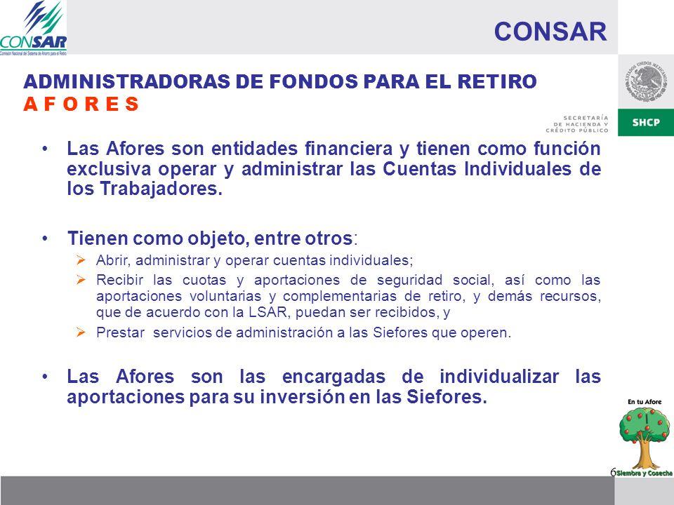 7 CONSAR SOCIEDADES DE INVERSIÓN ESPECIALIZADAS DE FONDOS PARA EL RETIRO S I E F O R E S Las Siefores son operadas y administradas por las Afores.