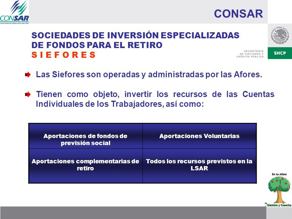 7 CONSAR SOCIEDADES DE INVERSIÓN ESPECIALIZADAS DE FONDOS PARA EL RETIRO S I E F O R E S Las Siefores son operadas y administradas por las Afores. Tie