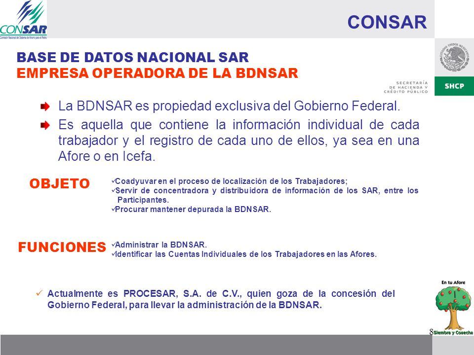 8 CONSAR BASE DE DATOS NACIONAL SAR EMPRESA OPERADORA DE LA BDNSAR La BDNSAR es propiedad exclusiva del Gobierno Federal. Es aquella que contiene la i