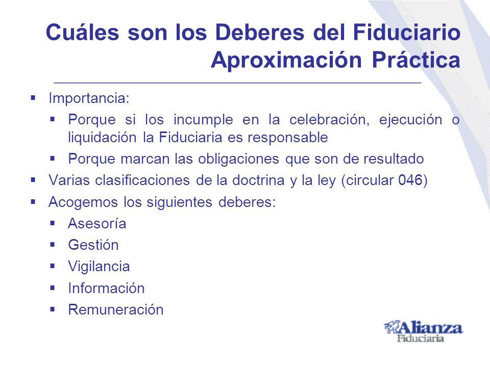 Importancia: Porque si los incumple en la celebración, ejecución o liquidación la Fiduciaria es responsable Porque marcan las obligaciones que son de