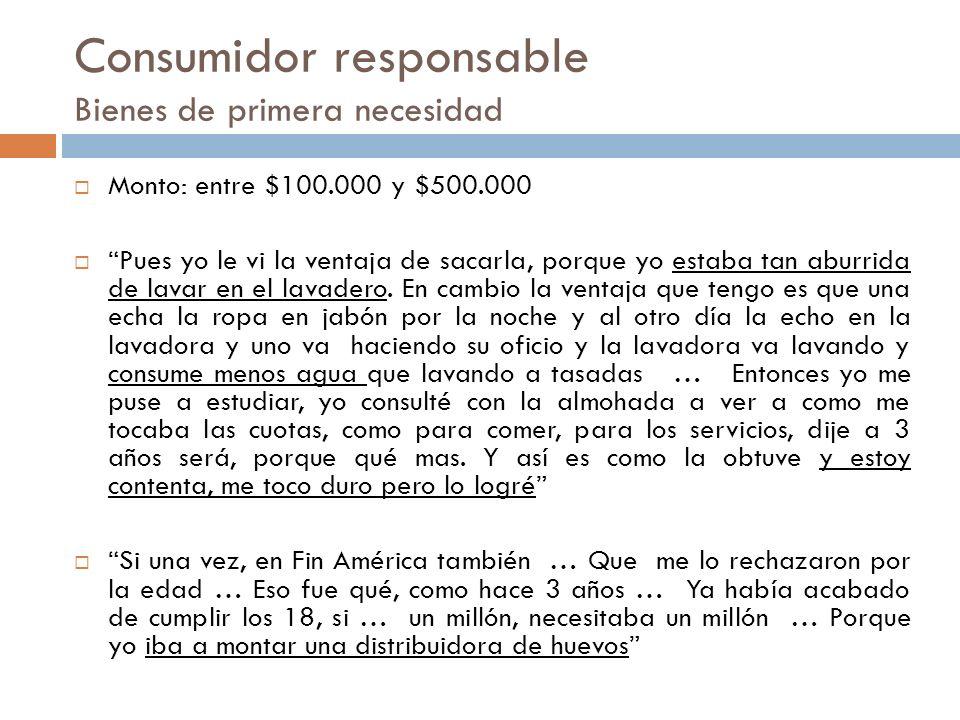 Consumidor responsable Bienes de primera necesidad Monto: entre $100.000 y $500.000 Pues yo le vi la ventaja de sacarla, porque yo estaba tan aburrida