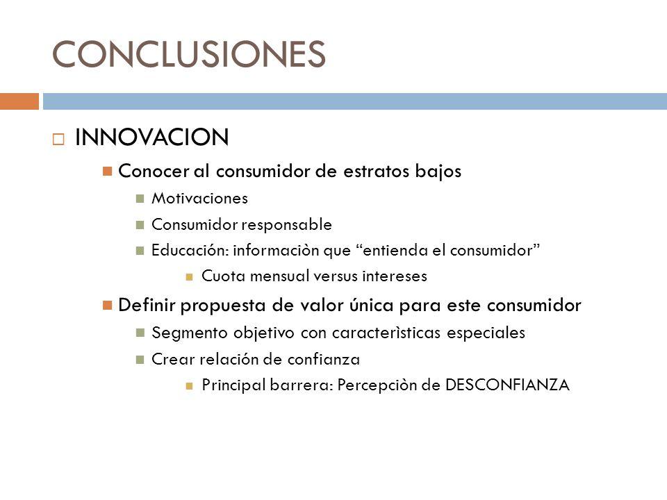 CONCLUSIONES INNOVACION Conocer al consumidor de estratos bajos Motivaciones Consumidor responsable Educación: informaciòn que entienda el consumidor