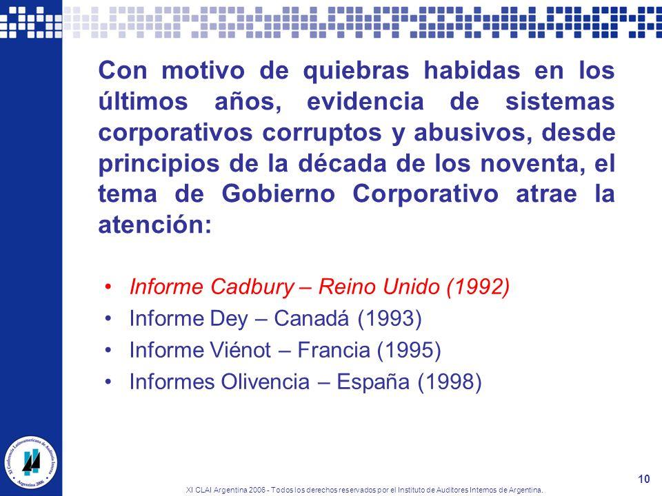 XI CLAI Argentina 2006 - Todos los derechos reservados por el Instituto de Auditores Internos de Argentina. 10 Con motivo de quiebras habidas en los ú