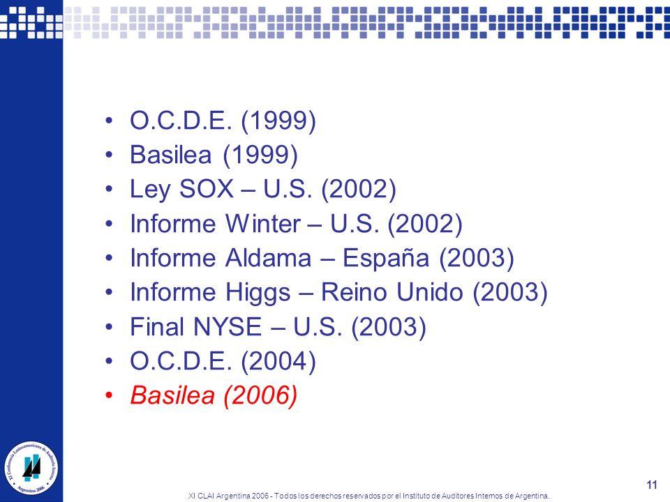 XI CLAI Argentina 2006 - Todos los derechos reservados por el Instituto de Auditores Internos de Argentina. 11 O.C.D.E. (1999) Basilea (1999) Ley SOX