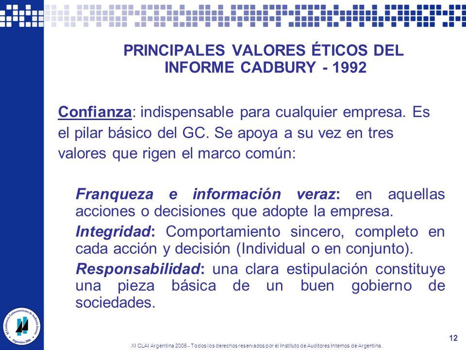 XI CLAI Argentina 2006 - Todos los derechos reservados por el Instituto de Auditores Internos de Argentina. 12 PRINCIPALES VALORES ÉTICOS DEL INFORME