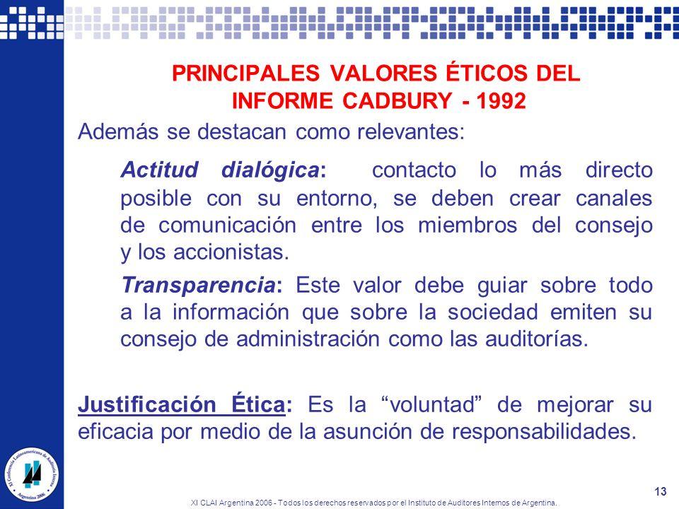 XI CLAI Argentina 2006 - Todos los derechos reservados por el Instituto de Auditores Internos de Argentina. 13 PRINCIPALES VALORES ÉTICOS DEL INFORME