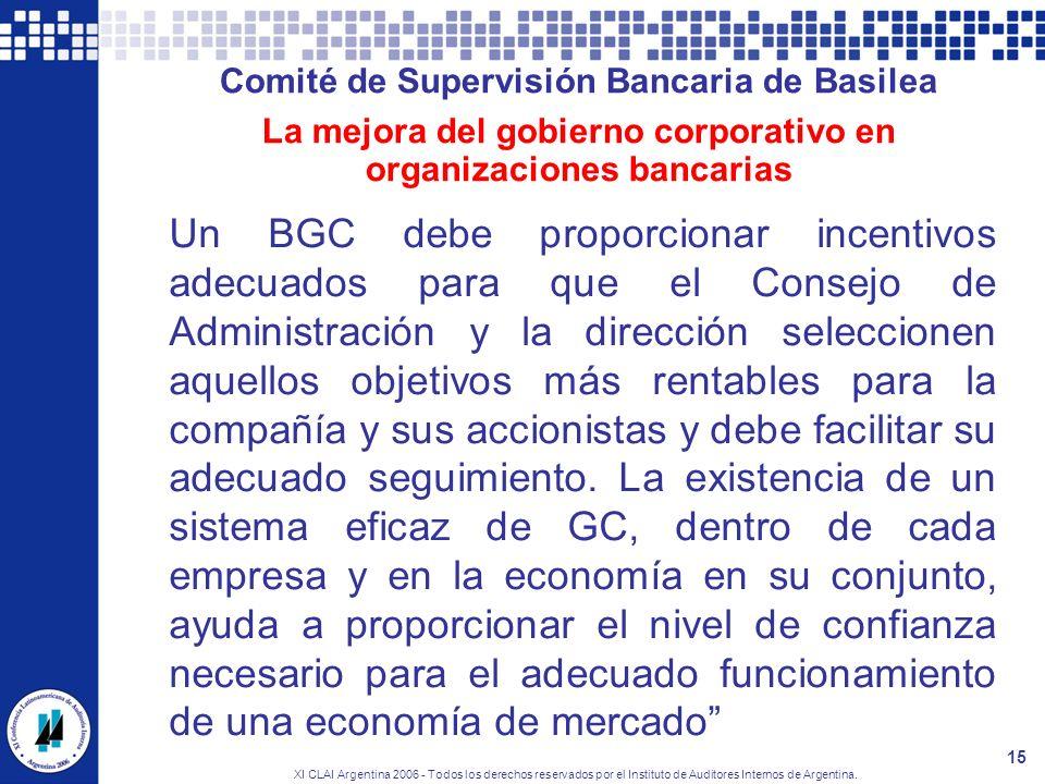 XI CLAI Argentina 2006 - Todos los derechos reservados por el Instituto de Auditores Internos de Argentina. 15 Comité de Supervisión Bancaria de Basil
