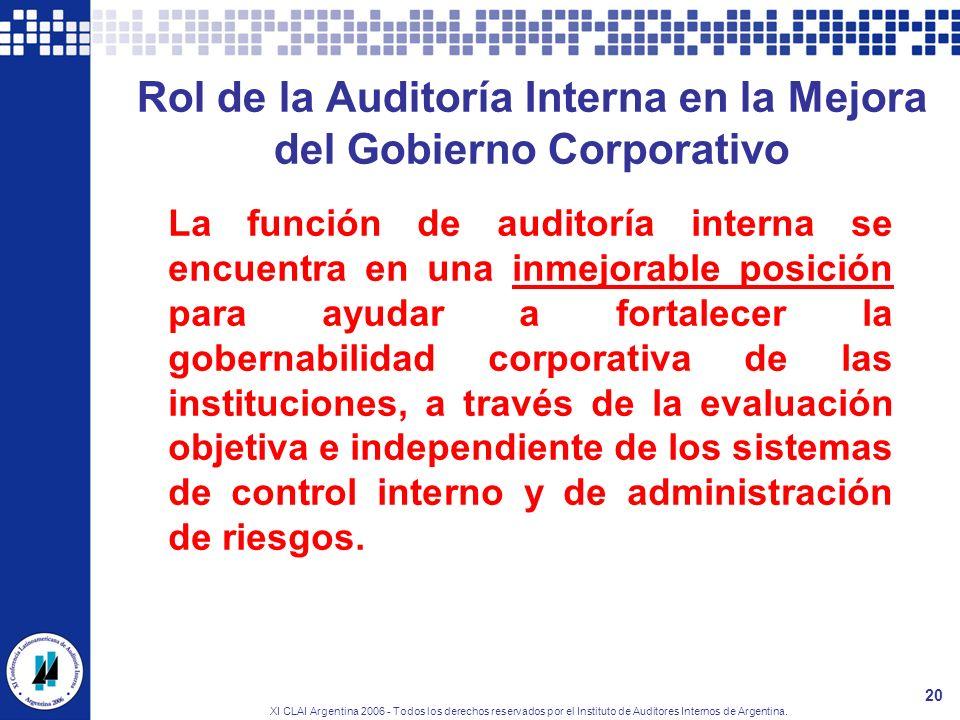XI CLAI Argentina 2006 - Todos los derechos reservados por el Instituto de Auditores Internos de Argentina. 20 Rol de la Auditoría Interna en la Mejor