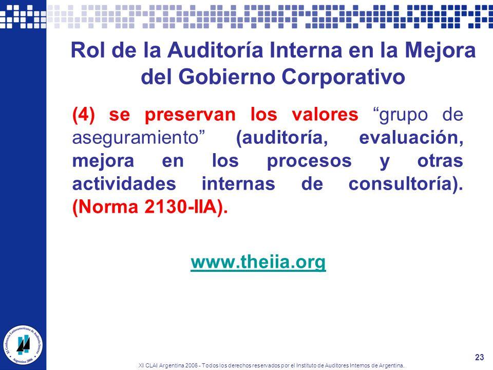 XI CLAI Argentina 2006 - Todos los derechos reservados por el Instituto de Auditores Internos de Argentina. 23 Rol de la Auditoría Interna en la Mejor