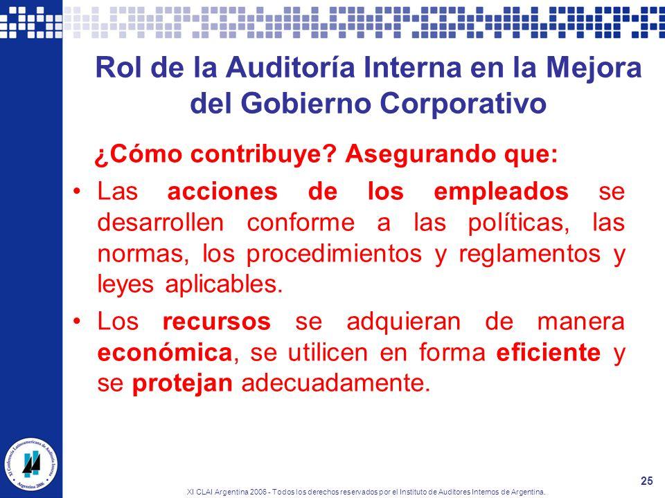 XI CLAI Argentina 2006 - Todos los derechos reservados por el Instituto de Auditores Internos de Argentina. 25 Rol de la Auditoría Interna en la Mejor