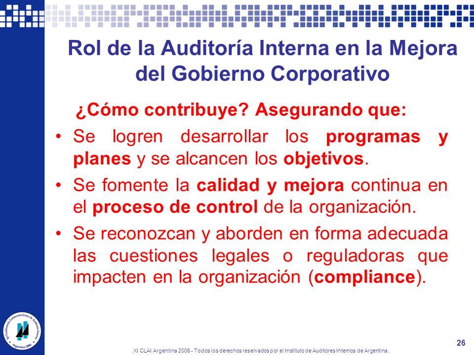 XI CLAI Argentina 2006 - Todos los derechos reservados por el Instituto de Auditores Internos de Argentina. 26 Rol de la Auditoría Interna en la Mejor